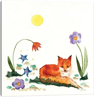 Little Fox In The Garden Canvas Art Print