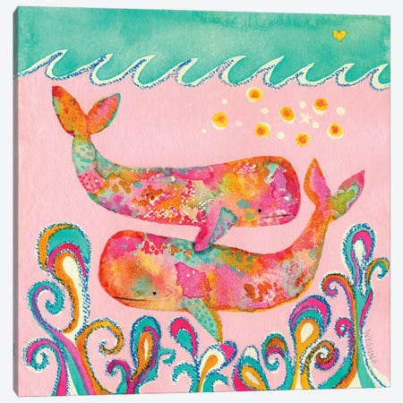 Pink Whales Canvas Print #WYA89} by Wyanne Canvas Print