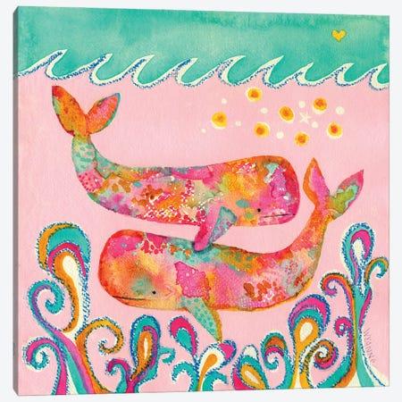 Pink Whales Canvas Print #WYA89} by Wyanne Canvas Print