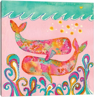 Pink Whales Canvas Art Print