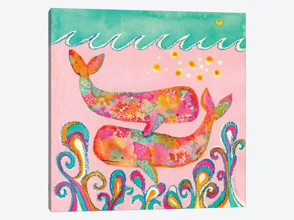 Pink Whales by Wyanne 1-piece Canvas Print