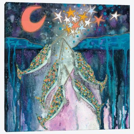 Stargazer Celebration Narwhals Canvas Print #WYA95} by Wyanne Art Print