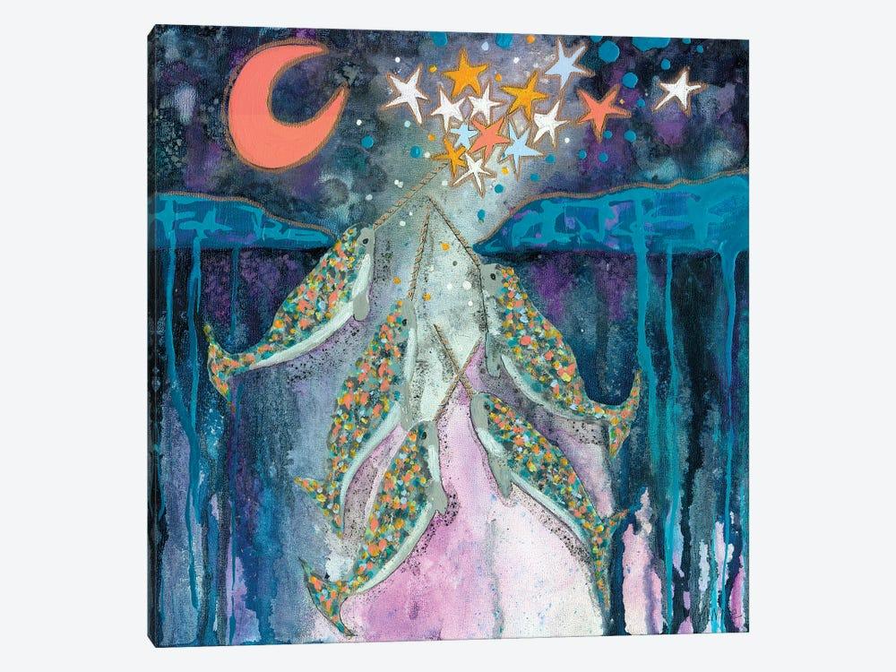 Stargazer Celebration Narwhals by Wyanne 1-piece Canvas Art
