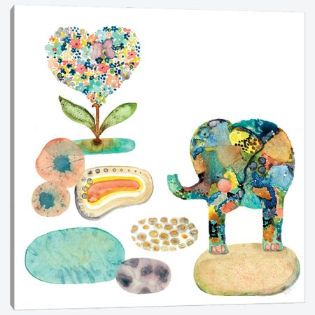 Stepping Stones Elephant Canvas Print #WYA96} by Wyanne Art Print