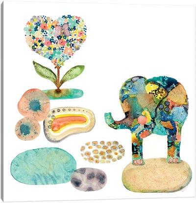 Stepping Stones Elephant Canvas Art Print