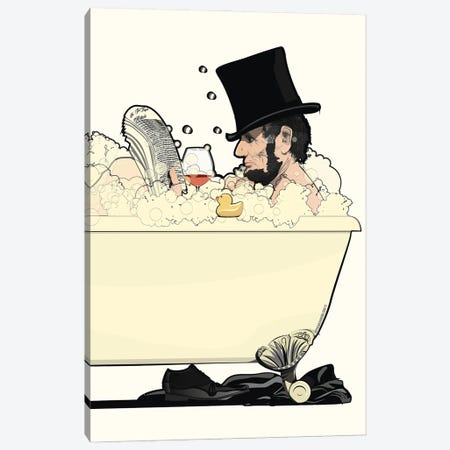 Abraham Lincoln In The Bath Canvas Print #WYD11} by WyattDesign Art Print