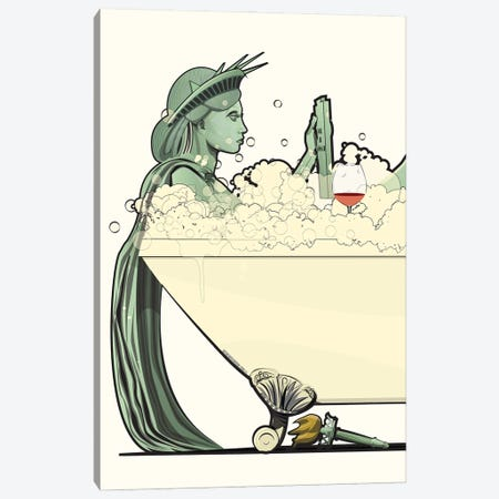 Statue Of Liberty In The Bath Canvas Print #WYD12} by WyattDesign Canvas Art Print
