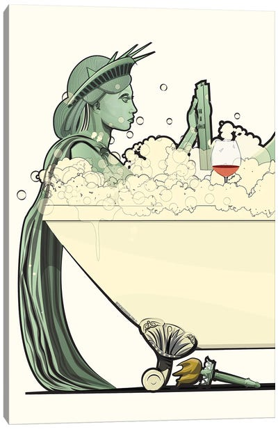 Statue Of Liberty In The Bath Canvas Art Print