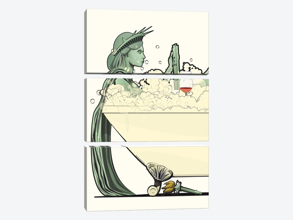 Statue Of Liberty In The Bath by WyattDesign 3-piece Art Print