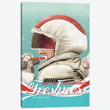 Spaceman_Brushing Their Teeth Canvas Print #WYD13} by WyattDesign Art Print