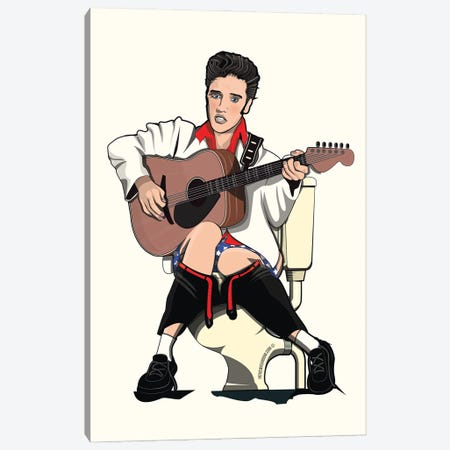 Elvis On The Toilet Canvas Print #WYD15} by WyattDesign Canvas Art