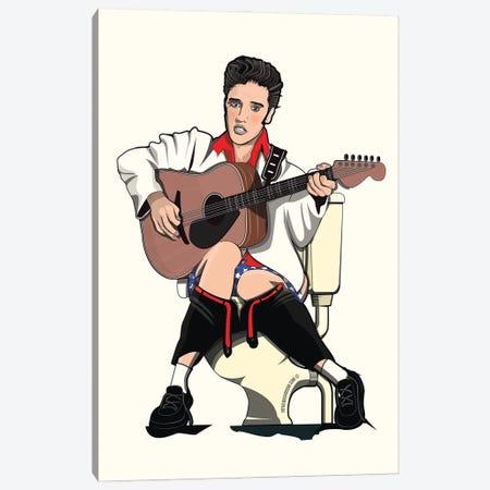 Elvis On The Toilet Canvas Print #WYD15} by WyattDesign Canvas Art