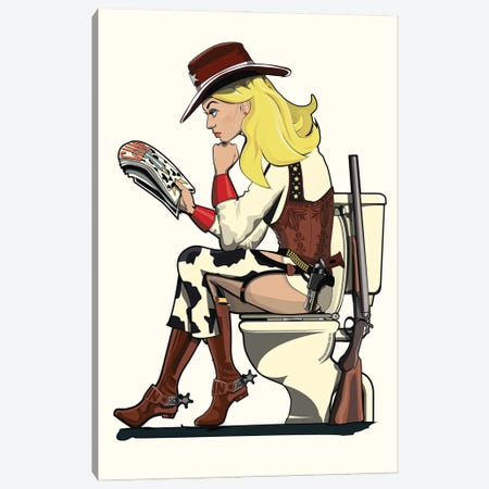 Cowgirl On The Toilet Canvas Print #WYD16} by WyattDesign Canvas Art