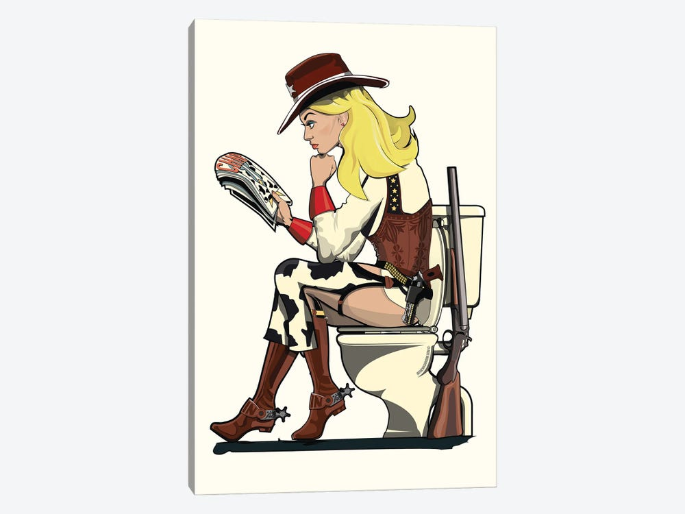 Cowgirl On The Toilet by WyattDesign 1-piece Art Print