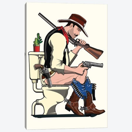 Cowboy On The Toilet Canvas Print #WYD17} by WyattDesign Canvas Artwork