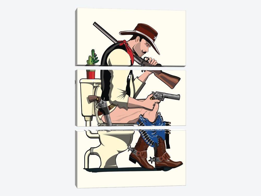 Cowboy On The Toilet by WyattDesign 3-piece Canvas Artwork