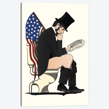 Abraham Lincoln On The Toilet Canvas Print #WYD18} by WyattDesign Canvas Art Print