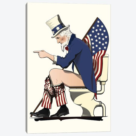 Uncle Sam On The Toilet Canvas Print #WYD21} by WyattDesign Canvas Art