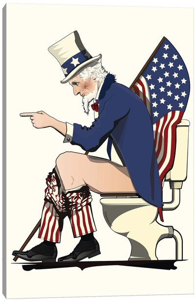 Uncle Sam On The Toilet Canvas Art Print
