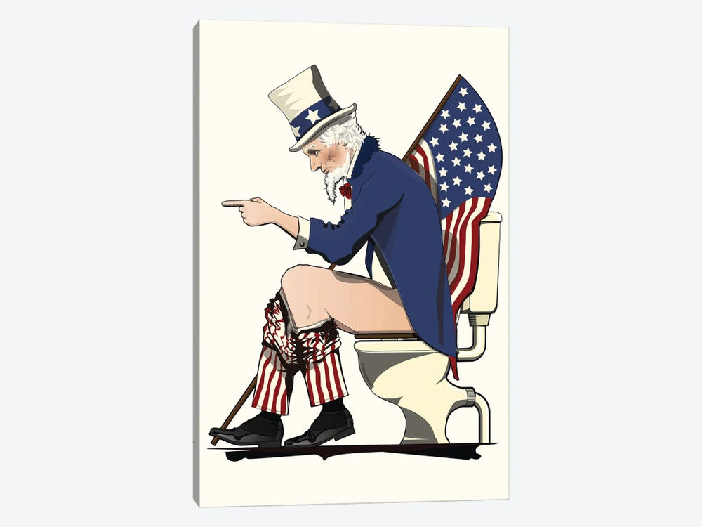 Uncle Sam On The Toilet by WyattDesign 1-piece Canvas Print