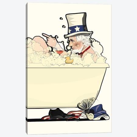 Uncle Sam In The Bath Canvas Print #WYD22} by WyattDesign Canvas Art