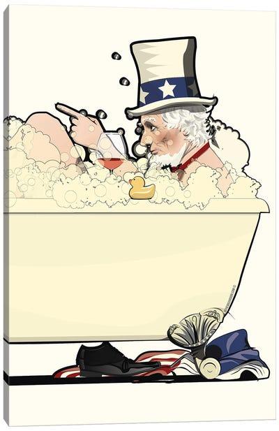 Uncle Sam In The Bath Canvas Art Print
