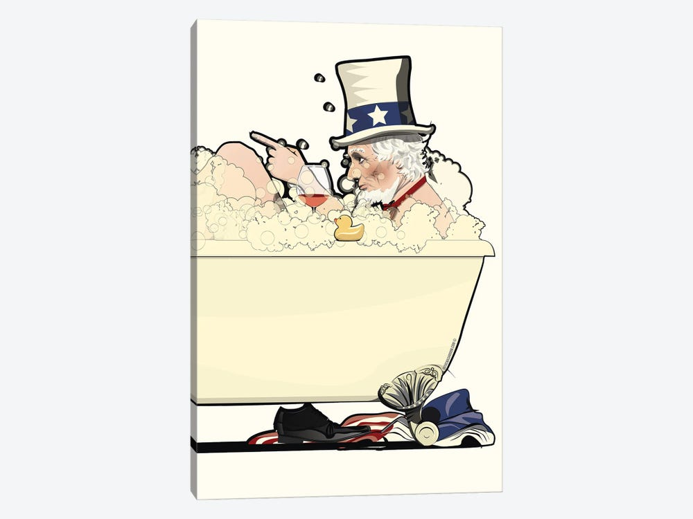 Uncle Sam In The Bath by WyattDesign 1-piece Canvas Art