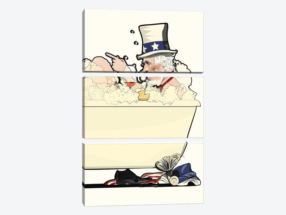 Uncle Sam In The Bath by WyattDesign 3-piece Canvas Art