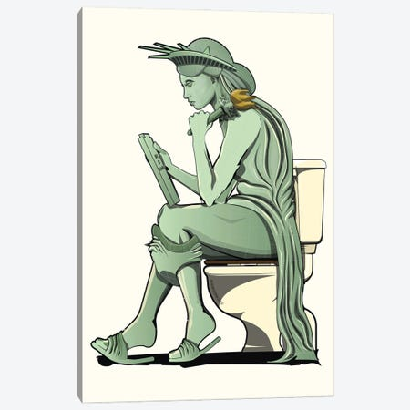 Statue Of Liberty On The Toilet Canvas Print #WYD23} by WyattDesign Canvas Wall Art