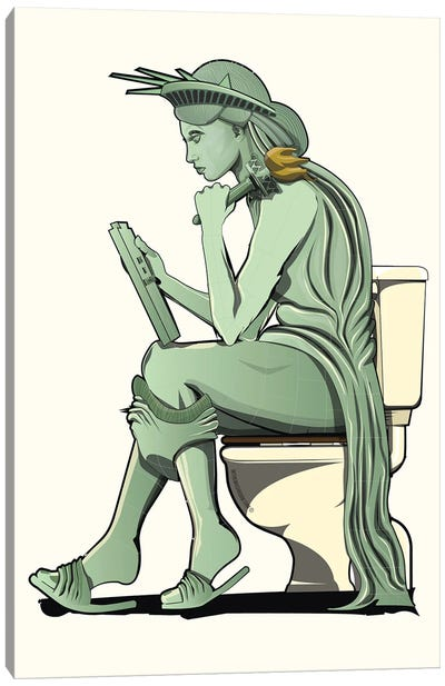 Statue Of Liberty On The Toilet Canvas Art Print