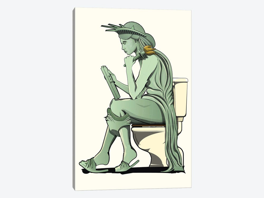 Statue Of Liberty On The Toilet by WyattDesign 1-piece Canvas Print