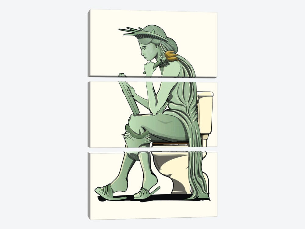 Statue Of Liberty On The Toilet by WyattDesign 3-piece Art Print