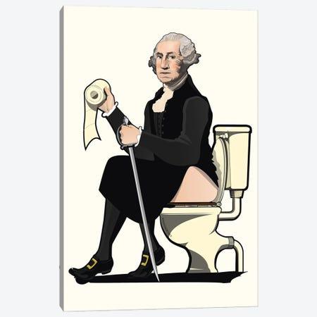 George Washington On The Toilet Canvas Print #WYD24} by WyattDesign Canvas Print