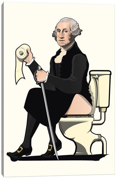 George Washington On The Toilet Canvas Art Print