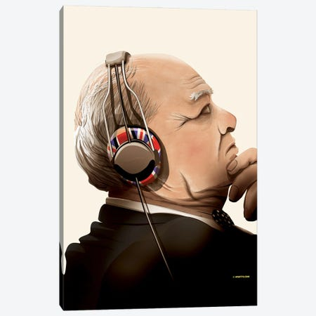 Churchill Listening To Music Canvas Print #WYD25} by WyattDesign Canvas Art Print