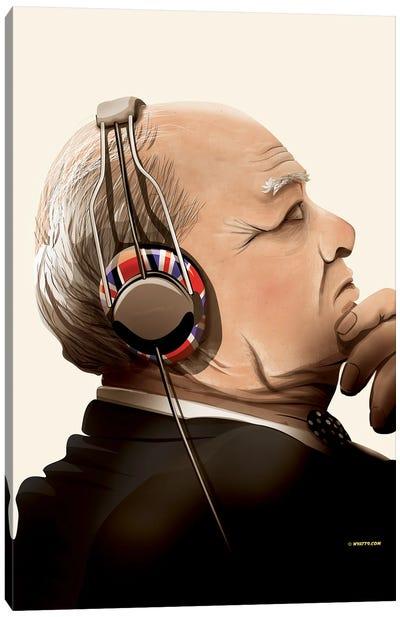 Churchill Listening To Music Canvas Art Print