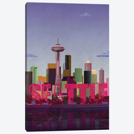 Seattle Skyline Canvas Print #WYD27} by WyattDesign Canvas Art Print