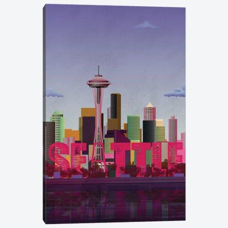 Seattle Skyline Canvas Print #WYD27} by WyattDesign Canvas Art Print