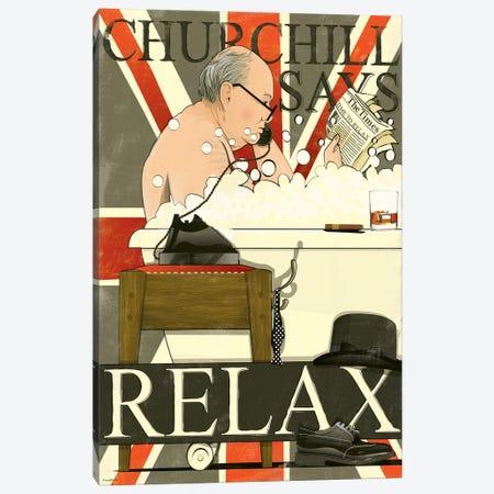 Churchill In The Bath Canvas Print #WYD28} by WyattDesign Canvas Art