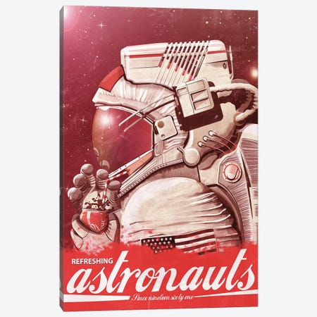 Astronaut Drinking A Coke Canvas Print #WYD29} by WyattDesign Canvas Wall Art