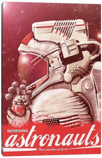 Astronaut Drinking A Coke Canvas Art Print