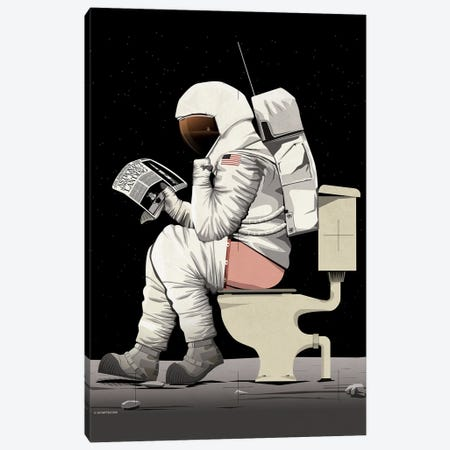 Astronaut On The Toilet Canvas Print #WYD30} by WyattDesign Canvas Art Print