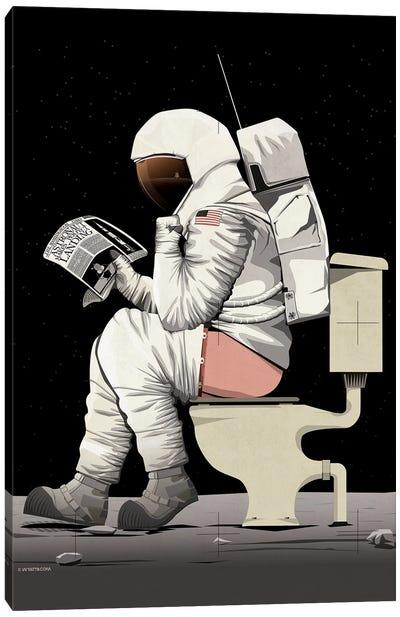 Astronaut On The Toilet Canvas Art Print