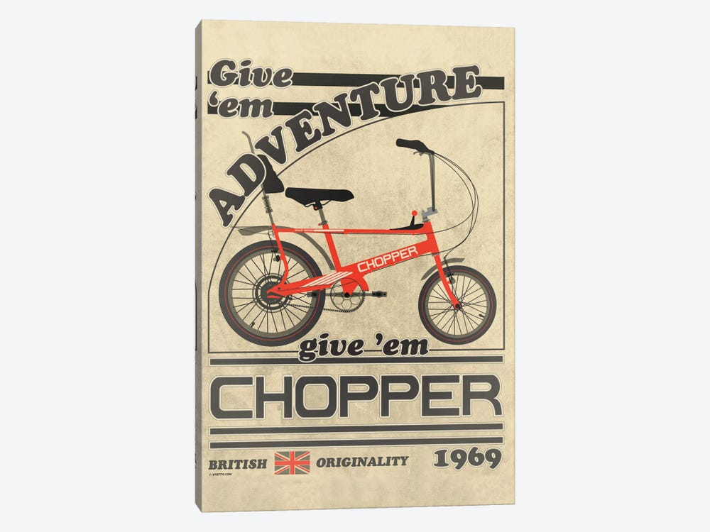 Chopper Bicycle Vintage Advert by WyattDesign 1-piece Canvas Wall Art
