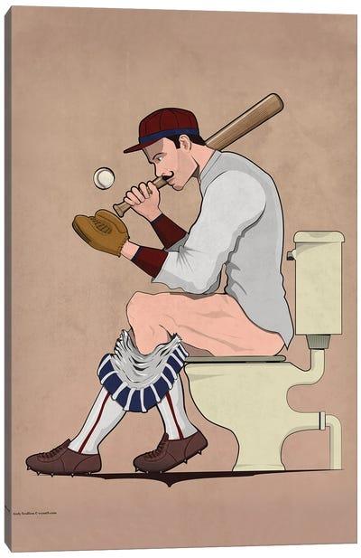 Baseball Player On The Toilet Canvas Art Print