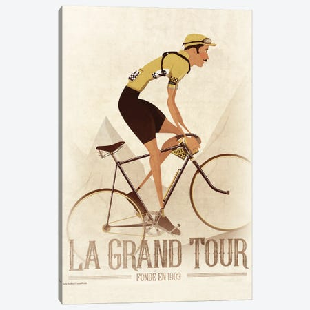 Vintage Tour De France Cyclist 3-Piece Canvas #WYD33} by WyattDesign Canvas Print