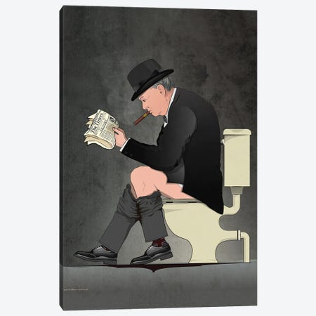Churchill On The Toilet Canvas Print #WYD37} by WyattDesign Canvas Artwork
