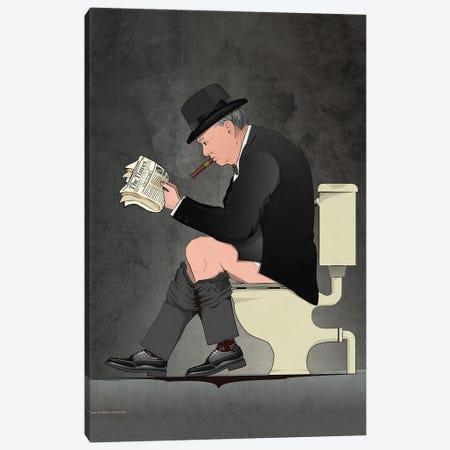 Churchill On The Toilet Canvas Print #WYD37} by WyattDesign Canvas Artwork