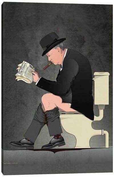 Churchill On The Toilet Canvas Art Print