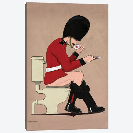 British Soldier On The Toilet Canvas Print #WYD40} by WyattDesign Canvas Artwork